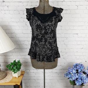 Dressbarn ruffle capped shoulders blouse large